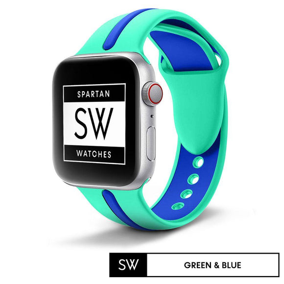 Watchband Store Dual-Tone Band For Apple Watch Green & Blue / 38mm | 40mm Dual-Tone Silicone Band for Apple Watch