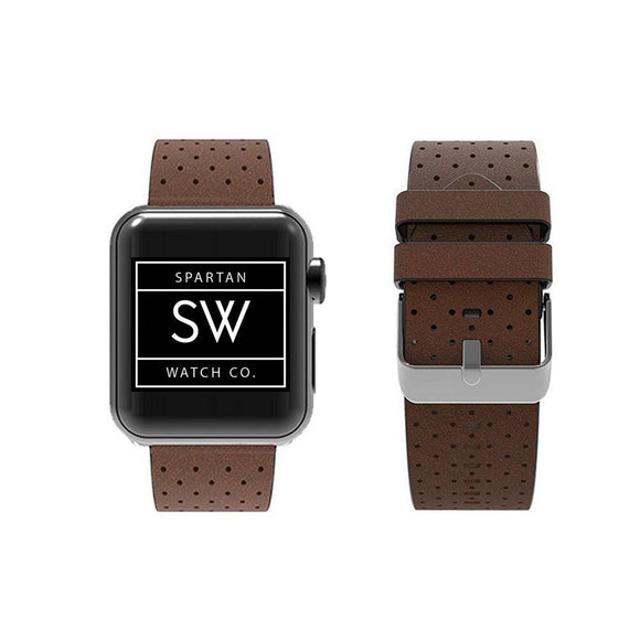 Spartan Watches Apple Watch Clearance Sale FINAL SALE: Breathable Leather Band for Apple Watch, Brown 38mm | 40mm