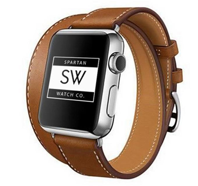 Spartan Watches FINAL SALE: Double Tour Leather Band for Apple Watch, Brown, 38mm | 40mm