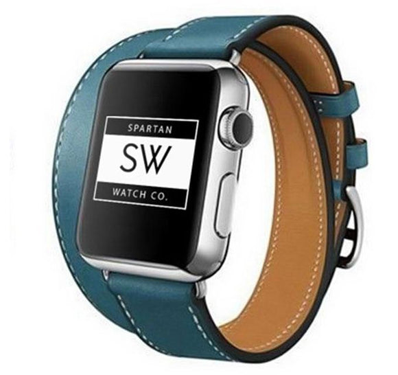 Spartan Watches Apple Watch Clearance Sale 42mm | 44mm FINAL SALE: Double Tour Leather Band for Apple Watch, Teal 42MM | 44MM