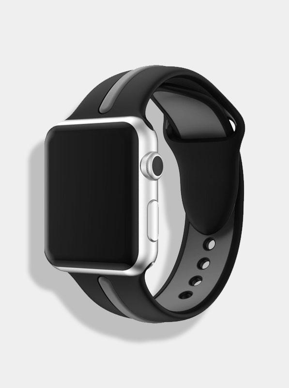 Spartan Watches 38 | 40 mm FINAL SALE: Dual-Tone Silicone Band for Apple Watch, Black & Grey