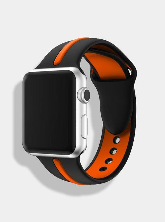 Spartan Watches FINAL SALE: Dual-Tone Silicone Band for Apple Watch, Black & Orange, 38mm | 40mm