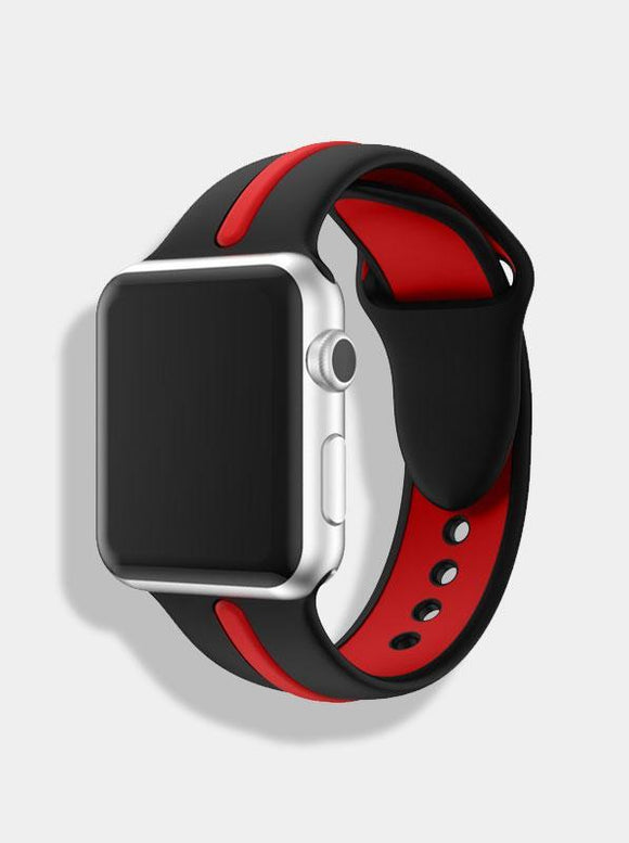 Spartan Watches 38 | 40 mm FINAL SALE: Dual-Tone Silicone Band for Apple Watch, Black & Red
