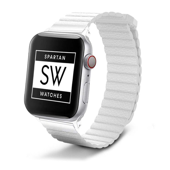 Spartan Watches FINAL SALE: Leather Band for Apple Watch, Milky White 38mm | 40mm