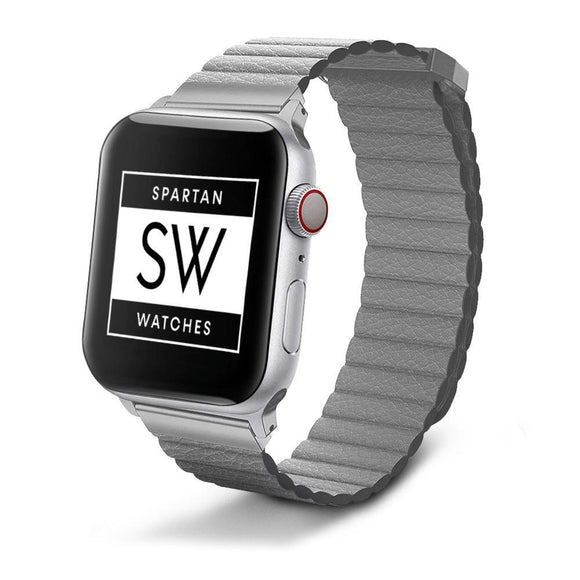 Spartan Watches Apple Watch Clearance Sale FINAL SALE: Leather Loop, Gray, 42mm | 44mm