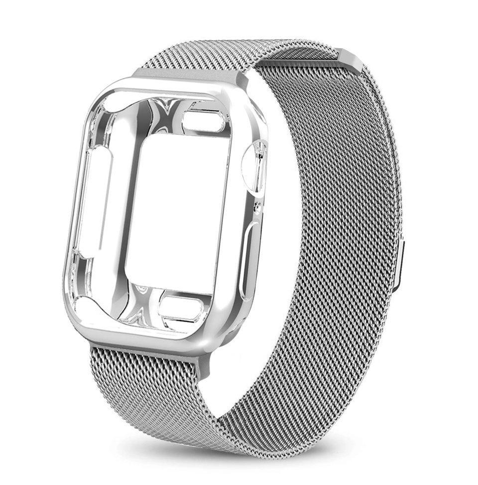 Spartan Watches Apple Watch Clearance Sale FINAL SALE: Milanese Magnetic Loop With Case, Silver, 42mm | 44mm
