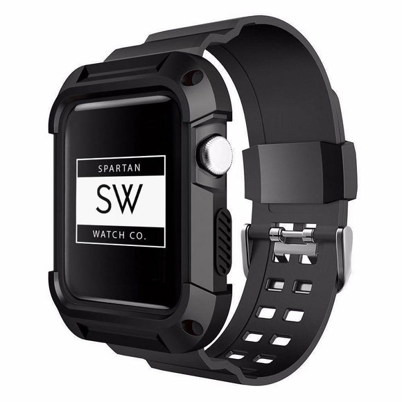 Spartan Watches Apple Watch Clearance Sale FINAL SALE: Rugged Sports Band With Case for Apple Watch, Black 38mm