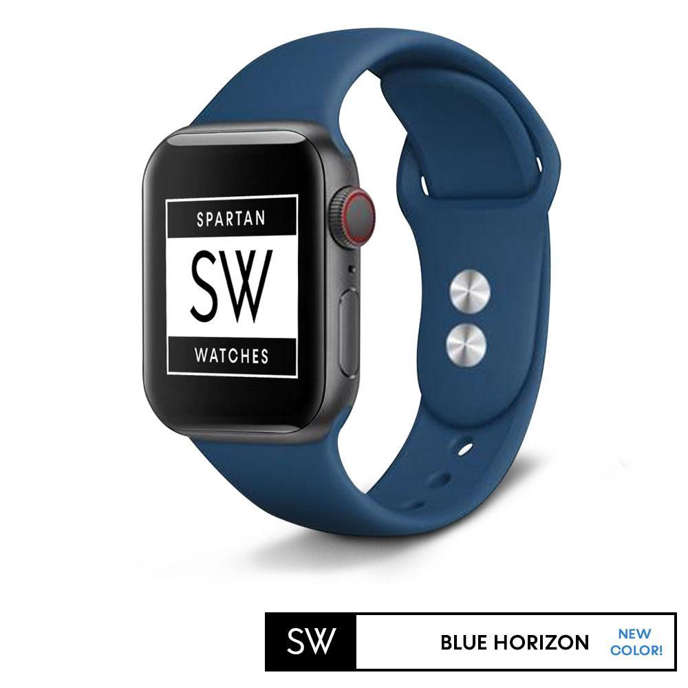 Spartan Watches FINAL SALE: Silicone Band for Apple Watch, Blue Horizon, Large