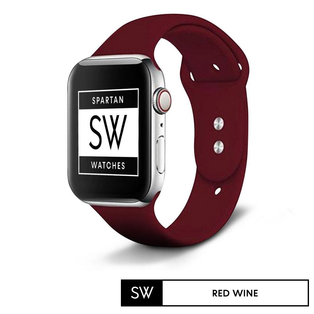 Spartan Watches FINAL SALE: Silicone Band for Apple Watch, Red Wine, 42 | 44MM, Large