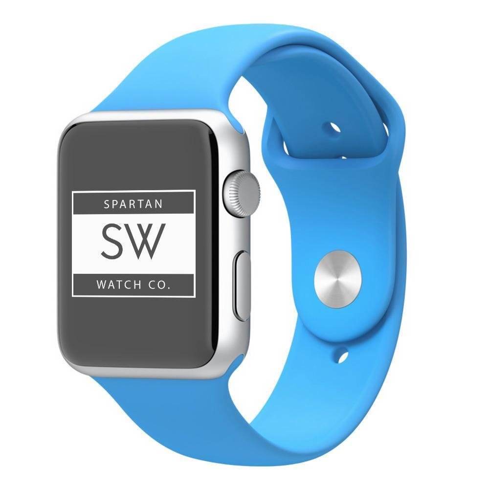 Spartan Watches Large FINAL SALE: Silicone Band for Apple Watch, Sky Blue, 38mm | 40mm