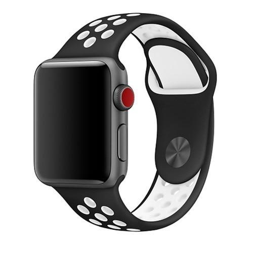 Spartan Watches Apple Watch Clearance Sale FINAL SALE: Silicone Sport, Black / White, 38mm | 40mm