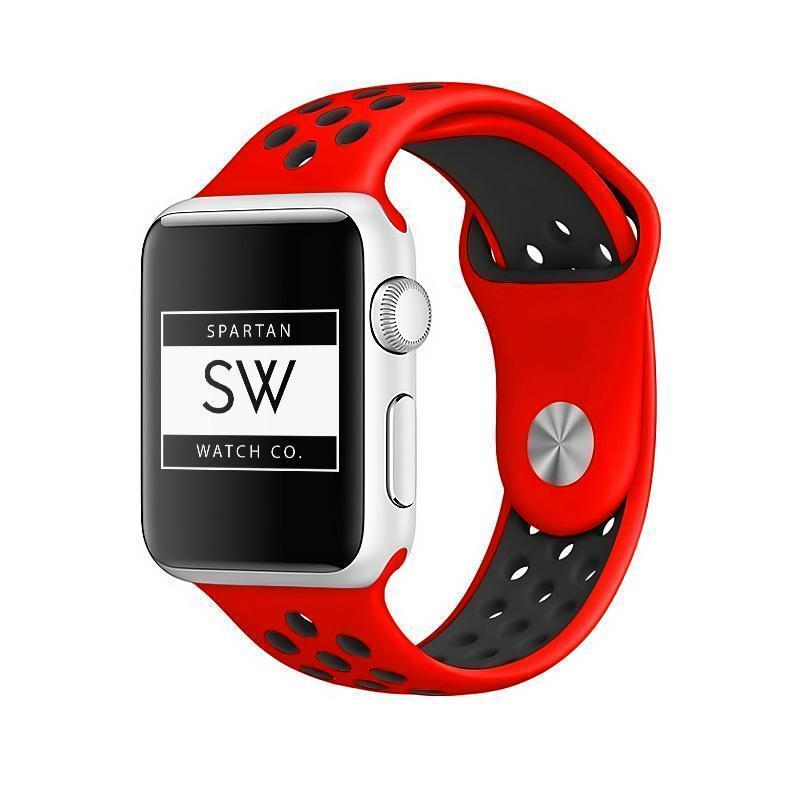 Spartan Watches Apple Watch Clearance Sale FINAL SALE: Silicone Sport, Red / Black, 38mm | 40mm