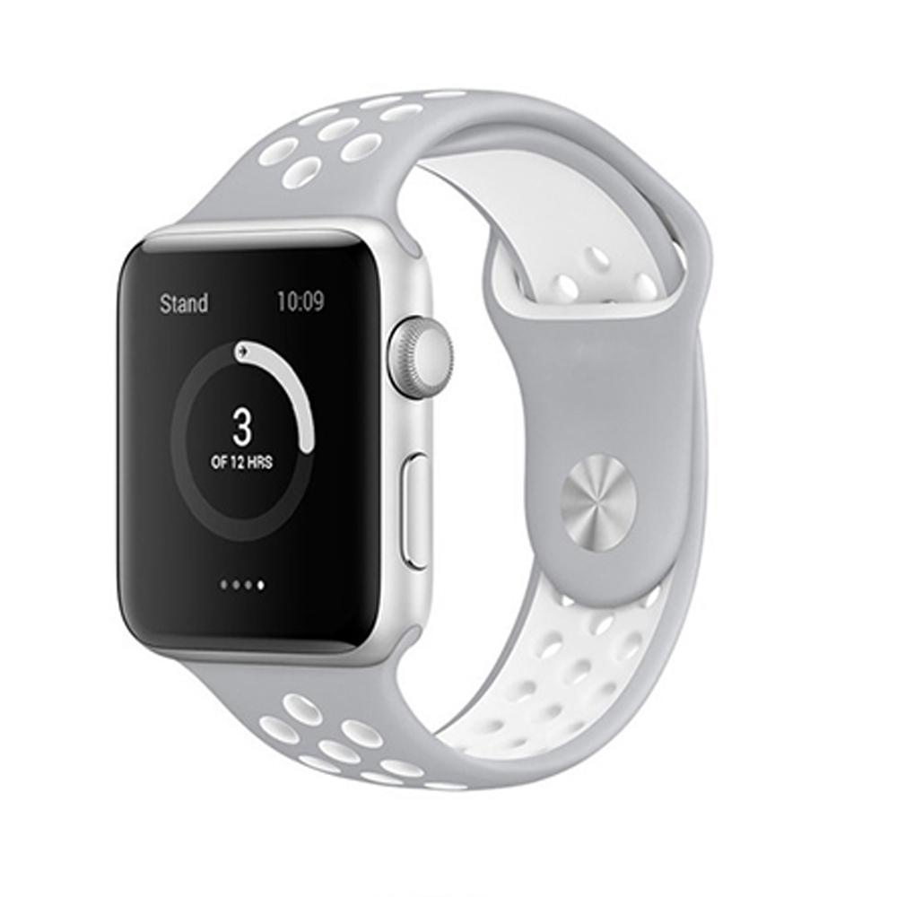 Spartan Watches Apple Watch Clearance Sale FINAL SALE: Silicone Sport, Silver / White, 42mm | 44mm
