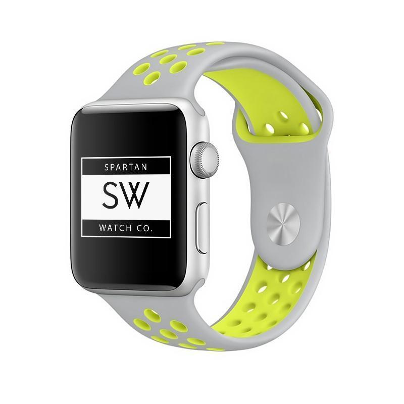 Spartan Watches Apple Watch Clearance Sale FINAL SALE: Silicone Sport, Silver / Yellow, 38mm | 40mm