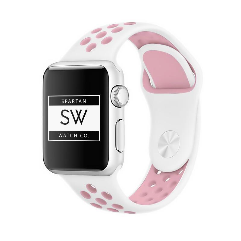 Spartan Watches Apple Watch Clearance Sale FINAL SALE: Silicone Sport, White / Pink, 42mm | 44mm