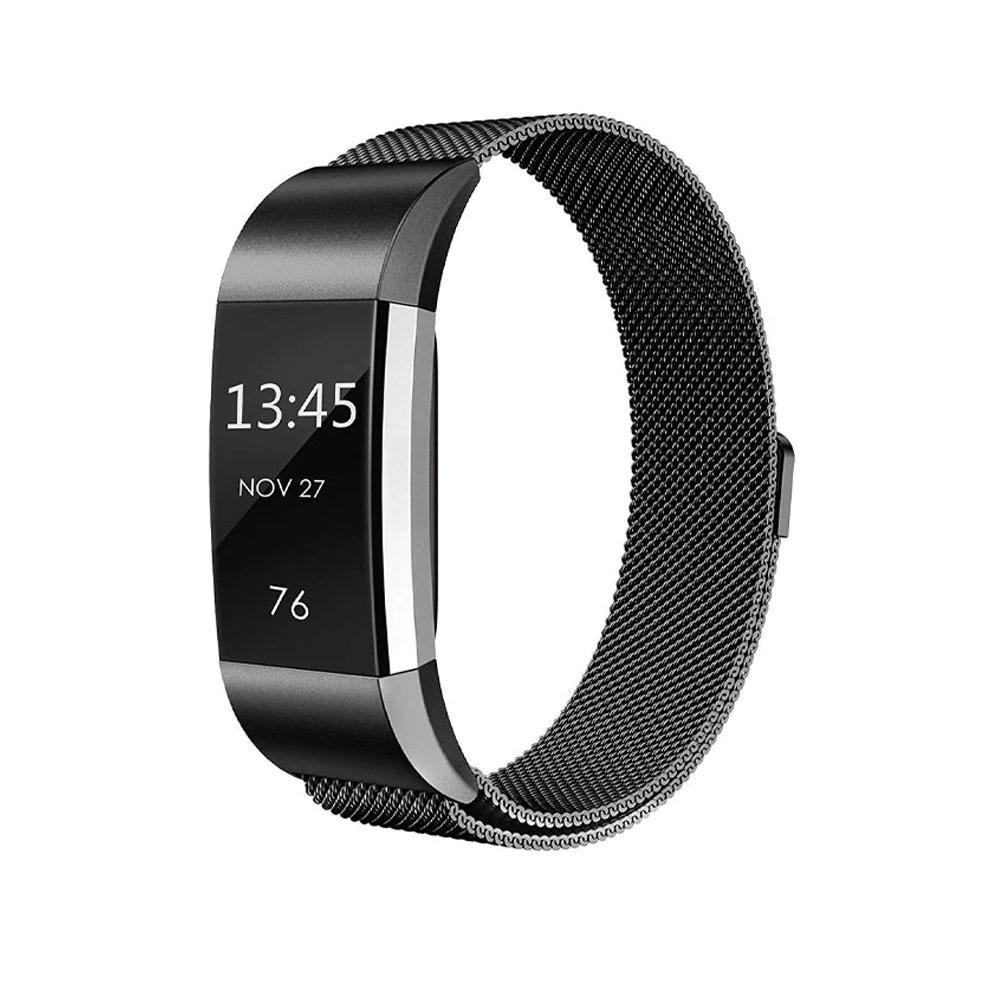 Wanniantech Store Milanese Band for Fitbit Charge 2 Black / Large Milanese Stainless Steel Band for Fitbit Charge 2