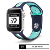 Watchband Store Vented Sports Band for Apple Watch Blue & Green / 38MM | 40MM Vented Sports Silicone Band for Apple Watch