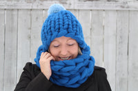 Hat and Cowl made from Mama Knows Luxury Big Yarn Hat and Cowl Pattern and Yarn Knitting Kit
