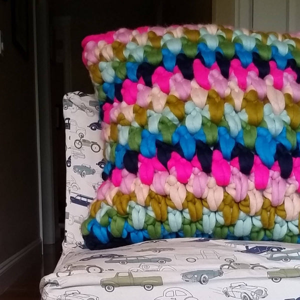 Pillow made from Mama Knows Luxury Yarnhouse Massive Floor Pillow Extreme Crochet Kit