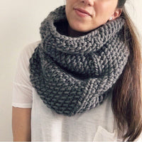Woman wearing cowl made from Mama Knows Luxury Cozi Cowl Pattern and Yarn Knitting Kit