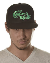 Flat Brim California Wave Logo, Unisex Snap Back Black Cap