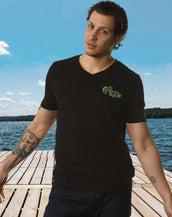 California Wave Embroidered, Mens V Neck Tee