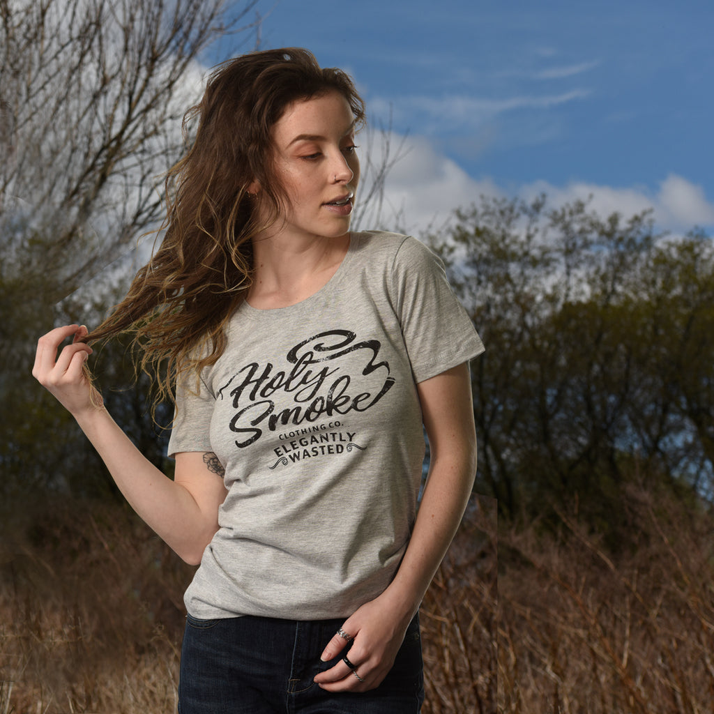 Elegantly, Holy Smoke, Womens Crew Neck Tee