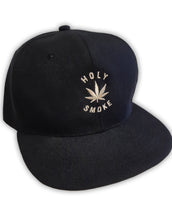 Flat Brim Holy Smoke Leaf, Unisex Snap Back Black Cap