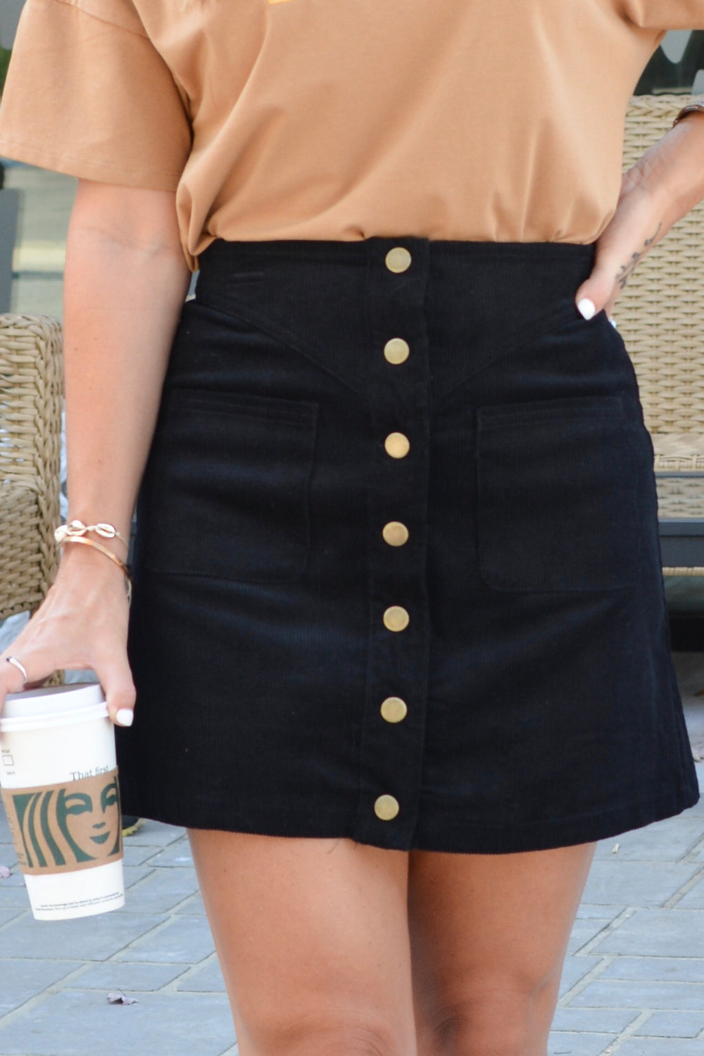 Just A Feeling Corduroy Skirt - Black