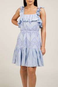 Blue Ruffle Summer Dress