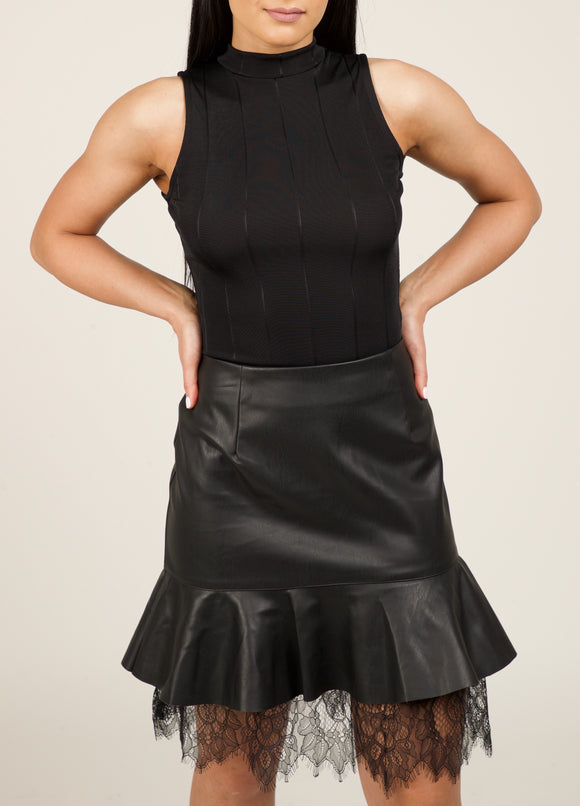 Leather Skirt with Lace Detail