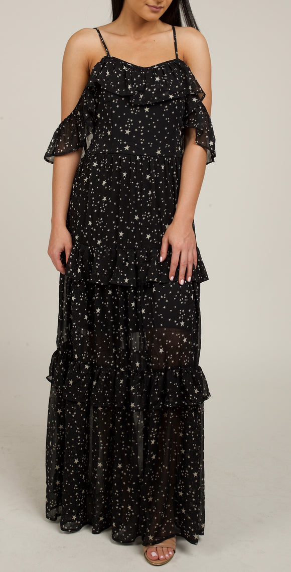Star Ruffle Maxi Dress