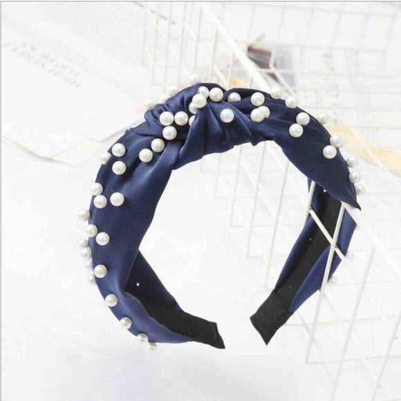 Satin Pearl Headband in 'Blue'