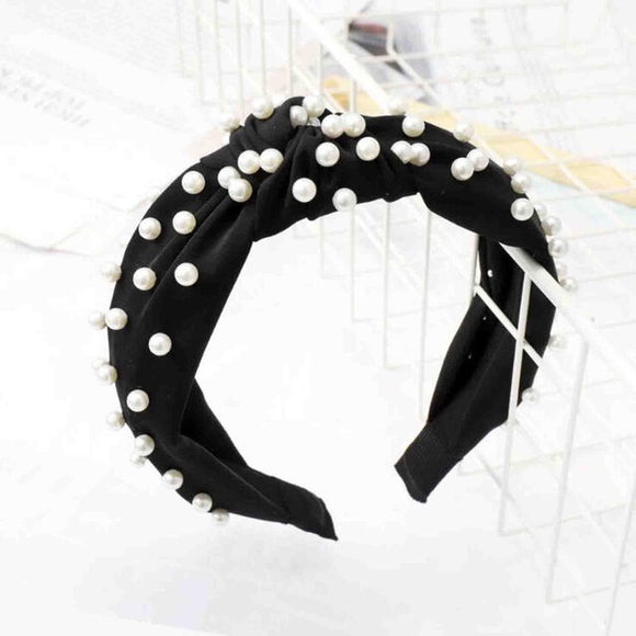 Pearl Knot Headband in 'Black'