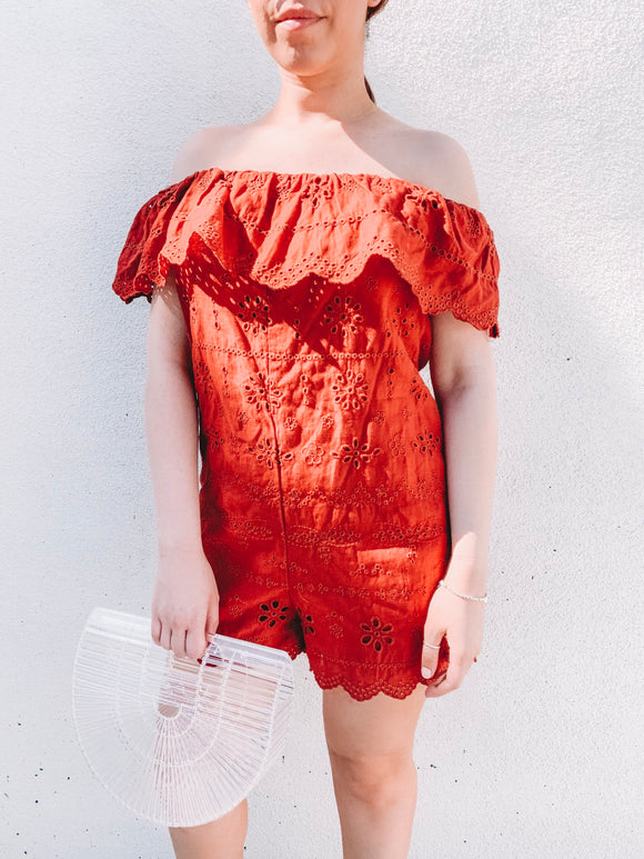 Orange Ruffle Romper
