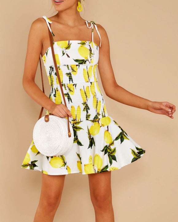 White Lemon Print Dress