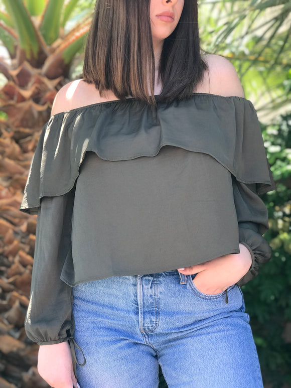 Olive Silk Off the Shoulder Top
