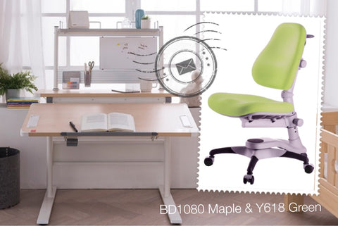 【MONTHLY SPECIAL】BD1080 Ergonomic Desk Maple & Y618 Chair & Bookshelf
