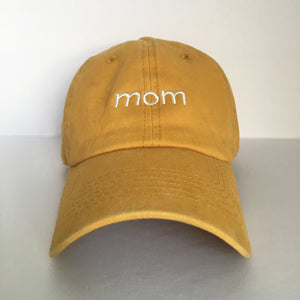 'Mom' Stone-Washed Dad Hat - BASICALLY. By PinkGrasshopper