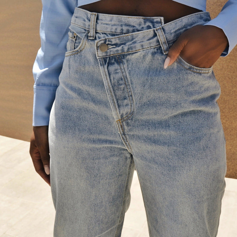 *PRE-ORDER* Criss Cross Waist Mom-Fit Jeans - BASICALLY. By PinkGrasshopper