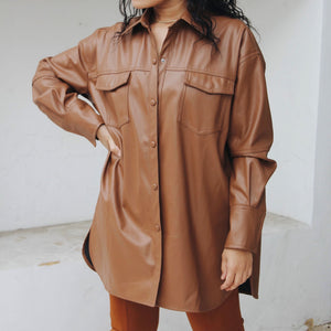 Vegan Leather Shirt Dress - BASICALLY. By PinkGrasshopper
