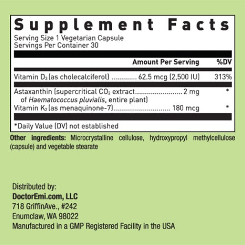 Vitamin K2 with D3 and Astaxanthin supplement facts