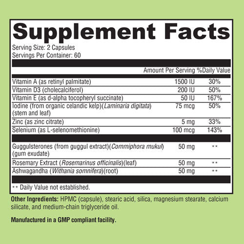 Kelp T3 label (supplement facts)