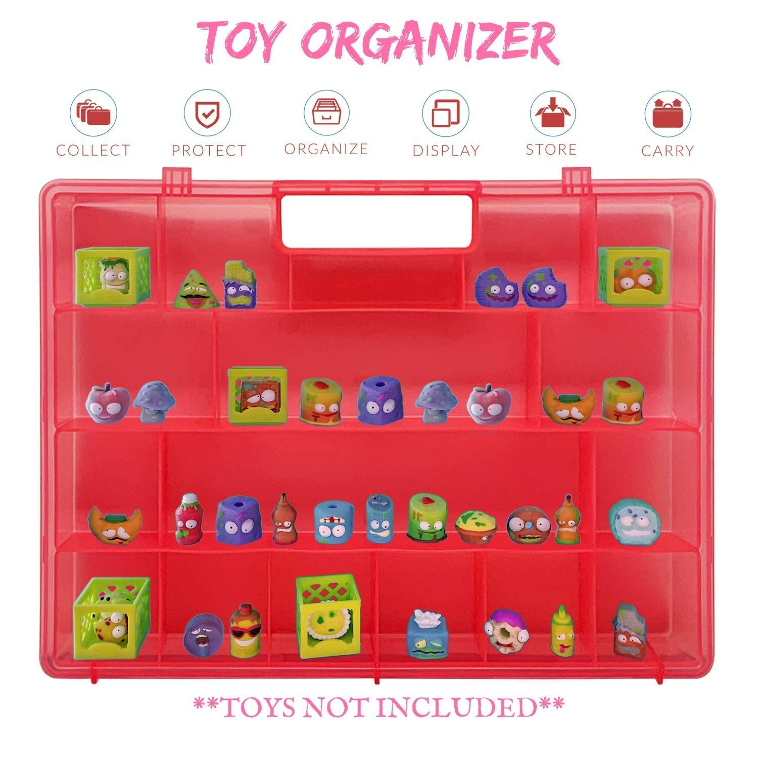 Life Made Better, Playset Toy Case with New Strengthened Handle, Compatible with Grossery Gang Figures, Kids' Pink Toy Figures Case by LMB
