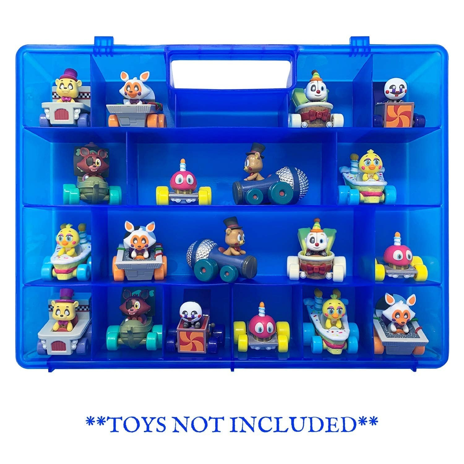 Life Made Better Strengthened Toy Organizer & Protective Case in Blue, Compatible with Funko Racers, Multiple Compartments for Organizing and Storing Figures
