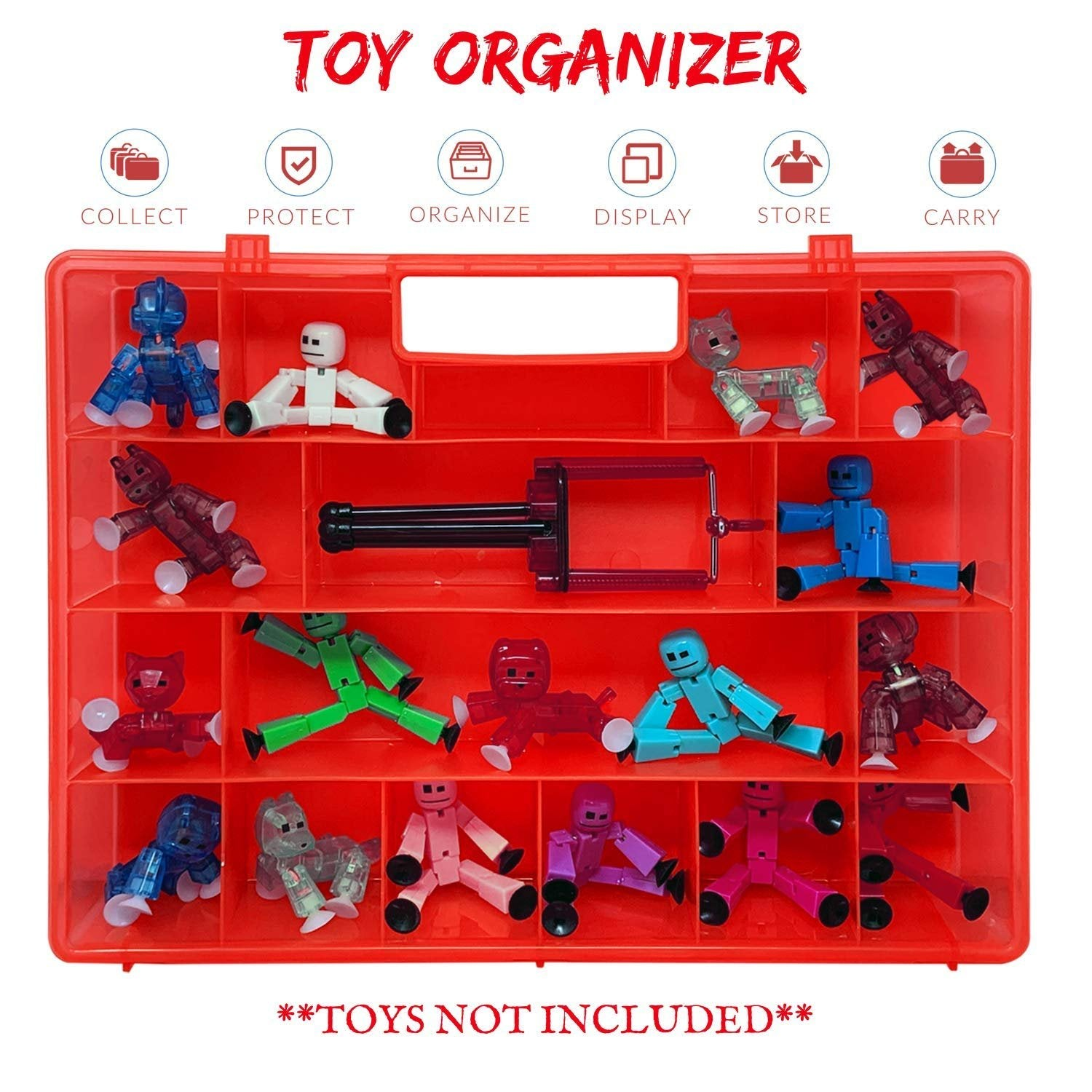 Life Made Better Toy Case, Sturdy & Reinforced Red Mini Figure Toy Storage Case, Compatible with Stickbots, not Created by Stickbots