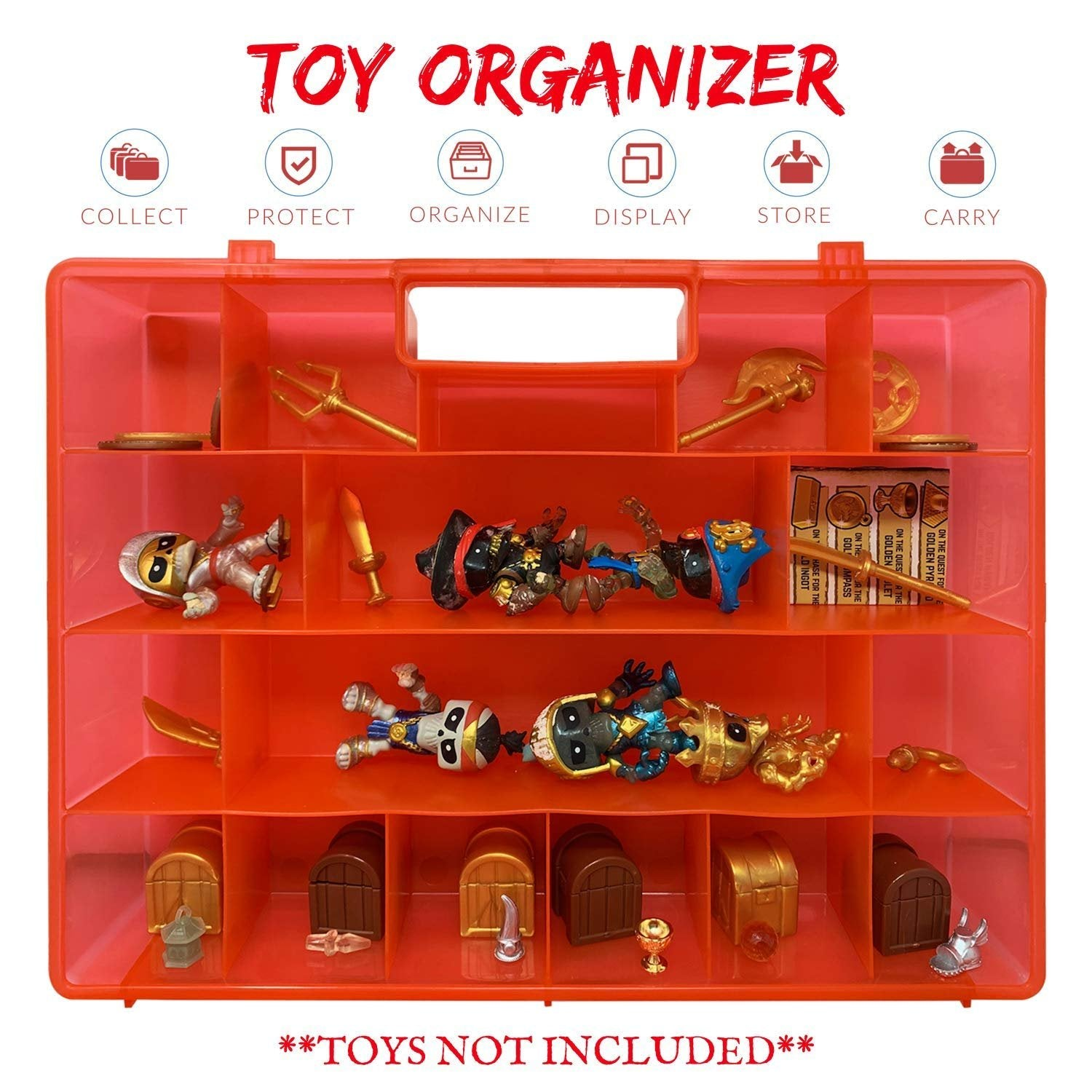 Life Made Better Red, Durable & Strong Toy Organizer Box Compatible with Treasure X Figurines. Durable, Lightweight Storage, not Made by Treasure X