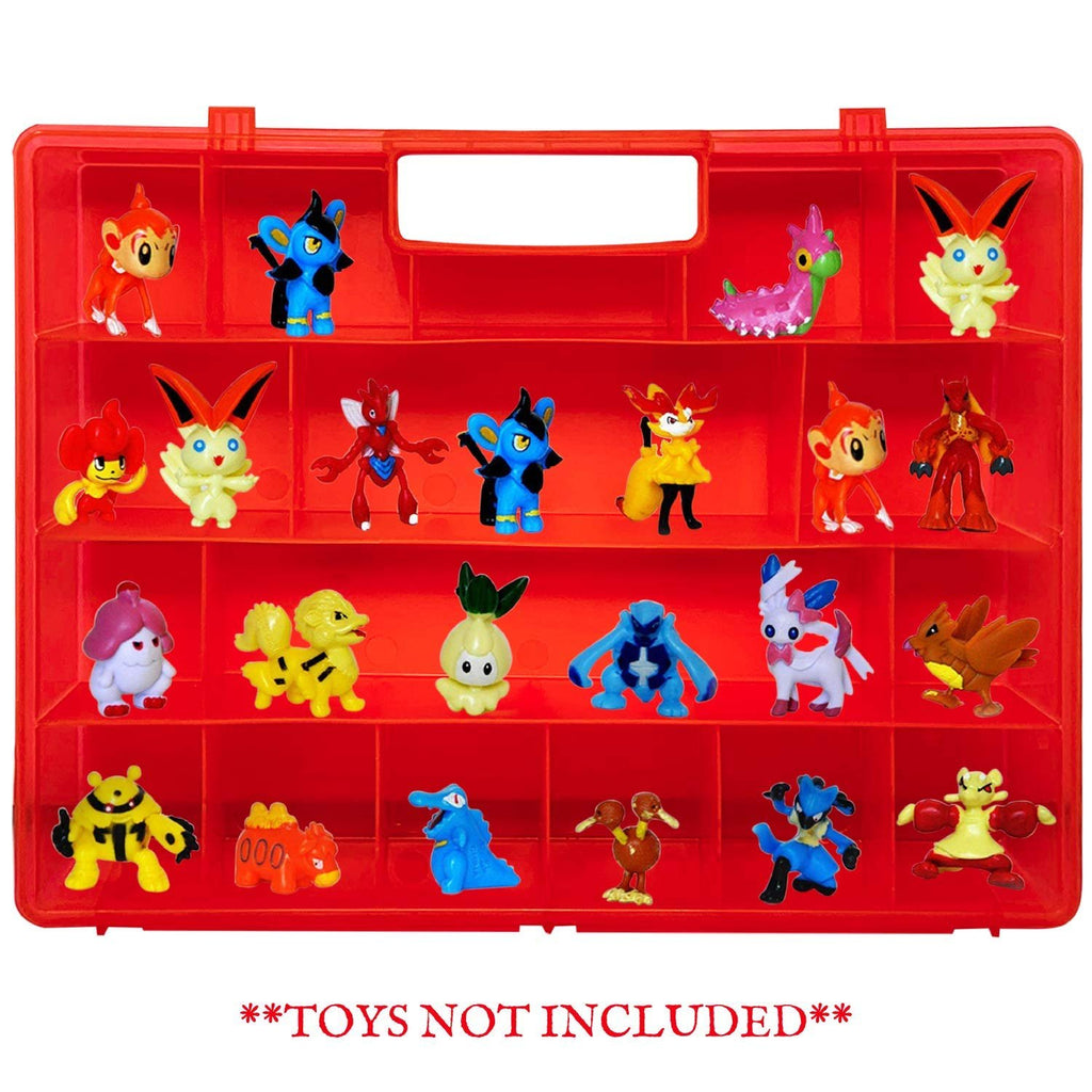 Life Made Better Red Action Mini Toy Figure Organizer, Strengthened Design Storage Case with a Stronger Handle, Compatible with Pokemon TM Action Figures, Made by LMB, Toy Accessories for Kids