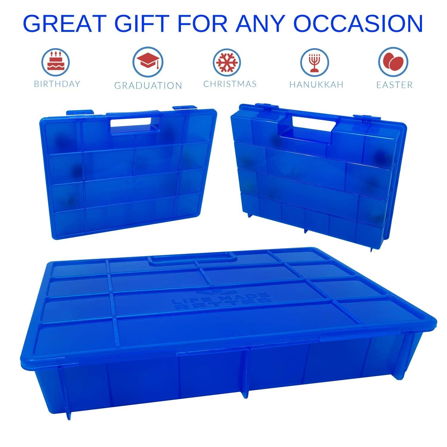Life Made Better Durable /& Kid Friendly Blue Toy Organizer Case for Dolls and Accessories Sweet Gift Idea for Big Sister /& Lil Sister