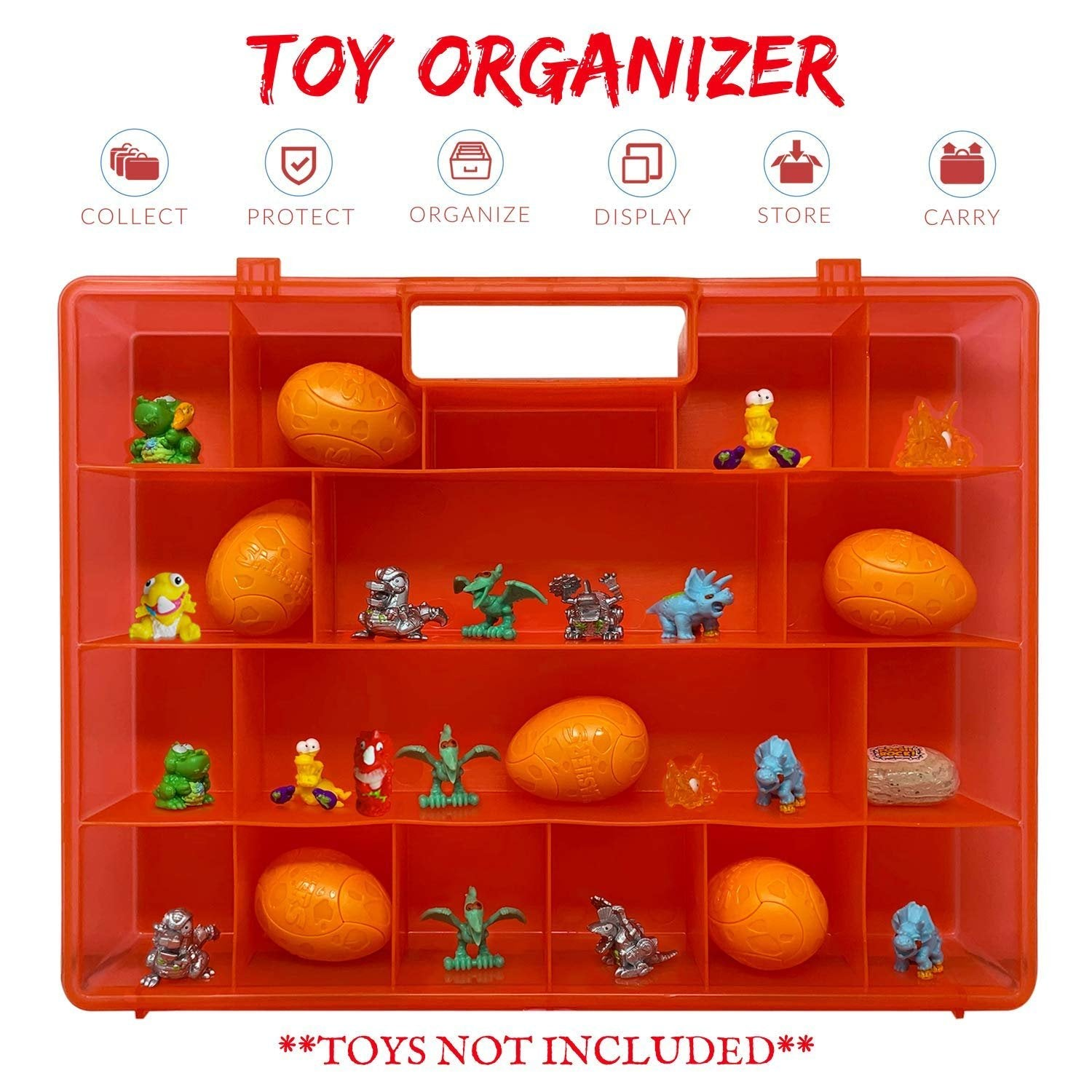 Life Made Better All-in-One Toy Organizer, Storage & Kid Travel Case, Compatible with Smashers Dino Dino Egg Figures, Toy Accessory by LMB